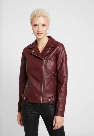 BIKER JACKET - Faux leather jacket - burgandy