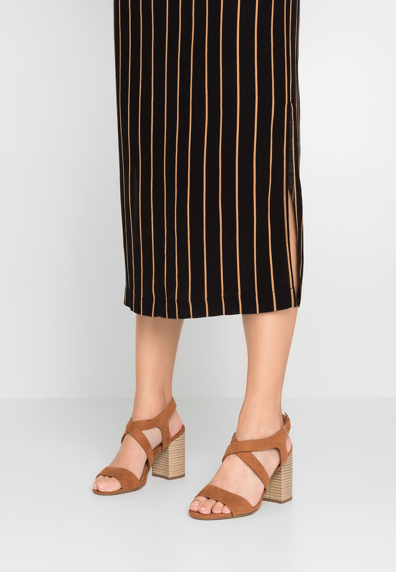 Dorothy Perkins Wide Fit - WIDE FIT SPYE CROSS OVER BLOCK  - High heeled sandals - tan