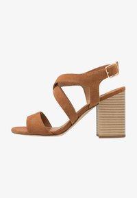 Dorothy Perkins Wide Fit - WIDE FIT SPYE CROSS OVER BLOCK  - High heeled sandals - tan - 1