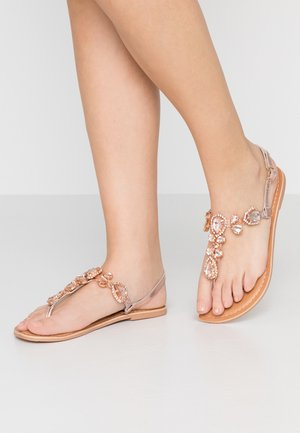 WIDE FIT JEL TEARDROP GEM TOE POST  - T-bar sandals - rose gold