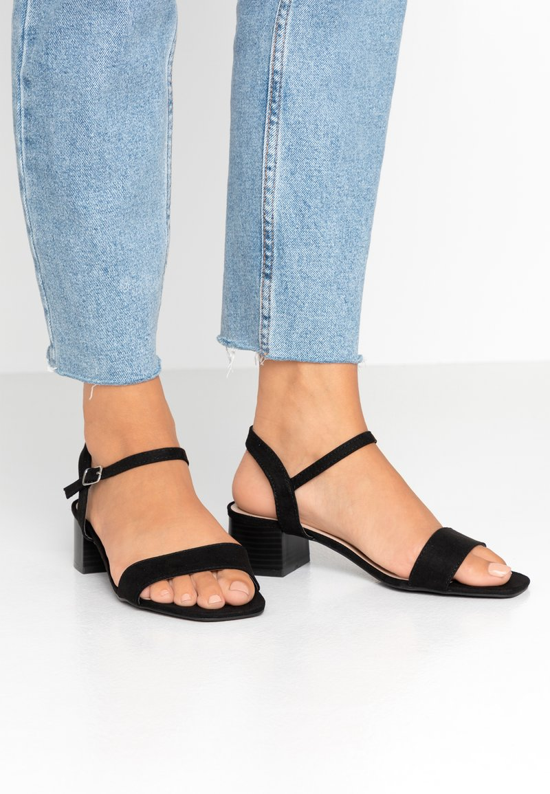 Dorothy Perkins - WIDE FIT BRIGHT SQUARE TOE BLOCK HEEL - Sandály - black