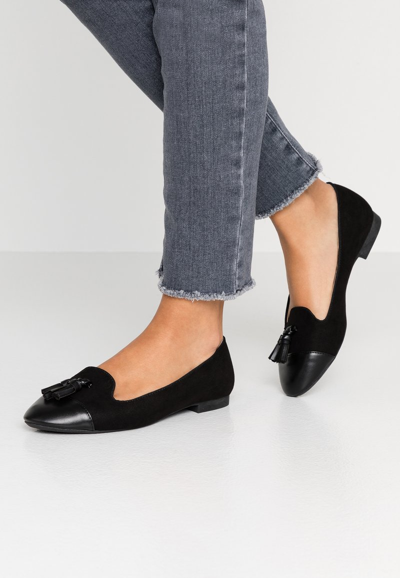 Dorothy Perkins Wide Fit - WIDE FIT PALMA TOE CAP - Instappers - black