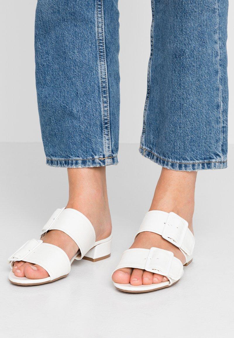 Dorothy Perkins Wide Fit - WIDE FIT BIBI BUCKLE SLIDE - Pantolette flach - white