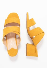 Dorothy Perkins Wide Fit - WIDE FIT BART MULE CROSS OVER - Pantofle na podpatku - yellow - 3