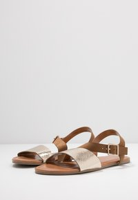 Dorothy Perkins Wide Fit - WIDE FIT FLORRIE ASYMETTRIC FLAT - Sandals - gold - 4