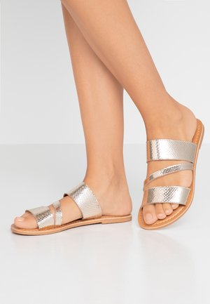 WIDE FIT ASYMMETRIC TRIPLE STRAP  - Pantofle - gold