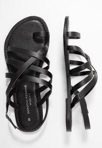 Dorothy Perkins Wide Fit - WIDE FIT JOSETTE CROSS OVER STRAPPY TOE LOOP - Sandály s odděleným palcem - black - 3