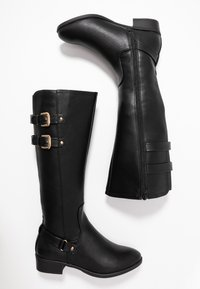 Dorothy Perkins Wide Fit - WIDE FIT KIKI BUCKLE RIDER BOOT - Boots - black - 3