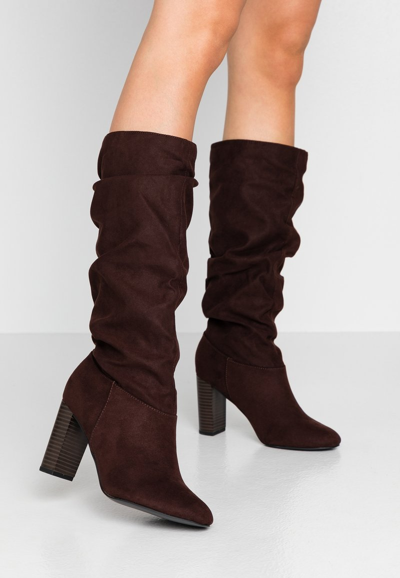 Dorothy Perkins Wide Fit - WIDE FIT KISS 70S LONG BOOT - High heeled boots - choc