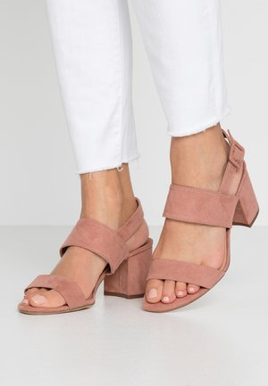 WIDE FIT SADE DOUBLE STRAP MULE - Sandalen - blush