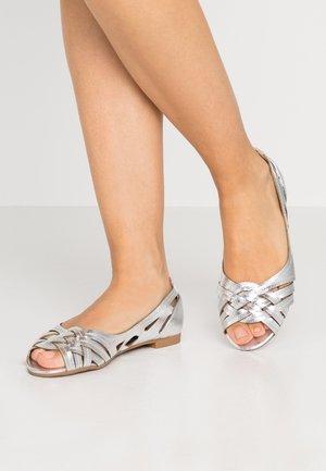 WIDE FIT PEARLENE  - Peeptoe ballet pumps - silver