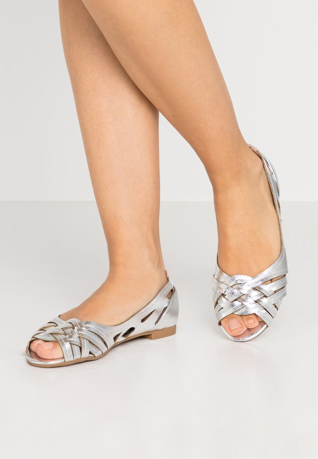 WIDE FIT PEARLENE  - Peeptoe ballet pumps - silver