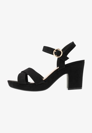 WIDE FIT RHONDA NOTCH WEDGE - High heeled sandals - black
