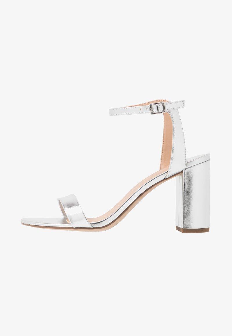 Dorothy Perkins Wide Fit - WIDE FIT SHIMMER BLOCK - High heeled sandals - silver