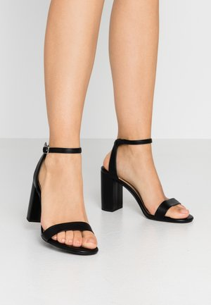 WIDE FIT SHIMMER BLOCK - Sandalias de tacón - black