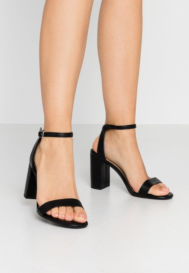 Dorothy Perkins Wide Fit - WIDE FIT SHIMMER BLOCK - High heeled sandals - black