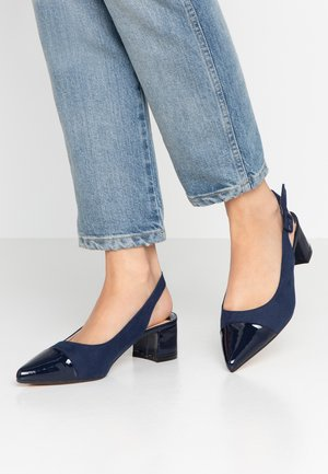 WIDE FIT DARLING SLINGBACK BLOCK HEEL COURT - Escarpins - navy