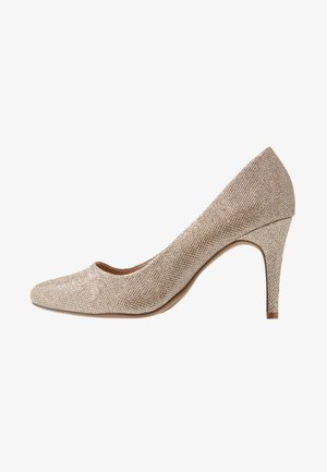 WIDE FIT DEEDEE ALMOND TOE COURT - High heels - gold
