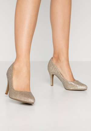 WIDE FIT DEEDEE ALMOND TOE COURT - Escarpins à talons hauts - gold