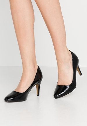 WIDE FIT DEEDEE ALMOND TOE COURT - High Heel Pumps - black