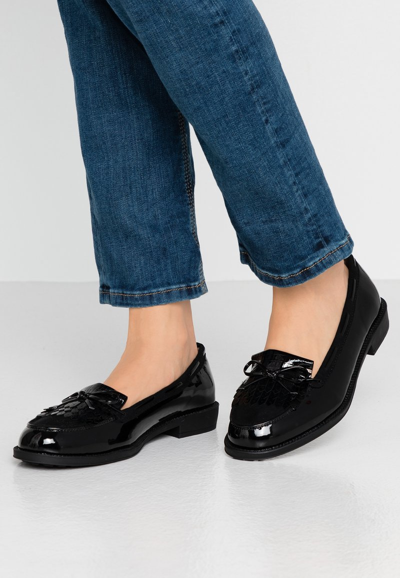 Dorothy Perkins Wide Fit - WIDE FIT LETTY FRINGE LOAFER - Loafers - black