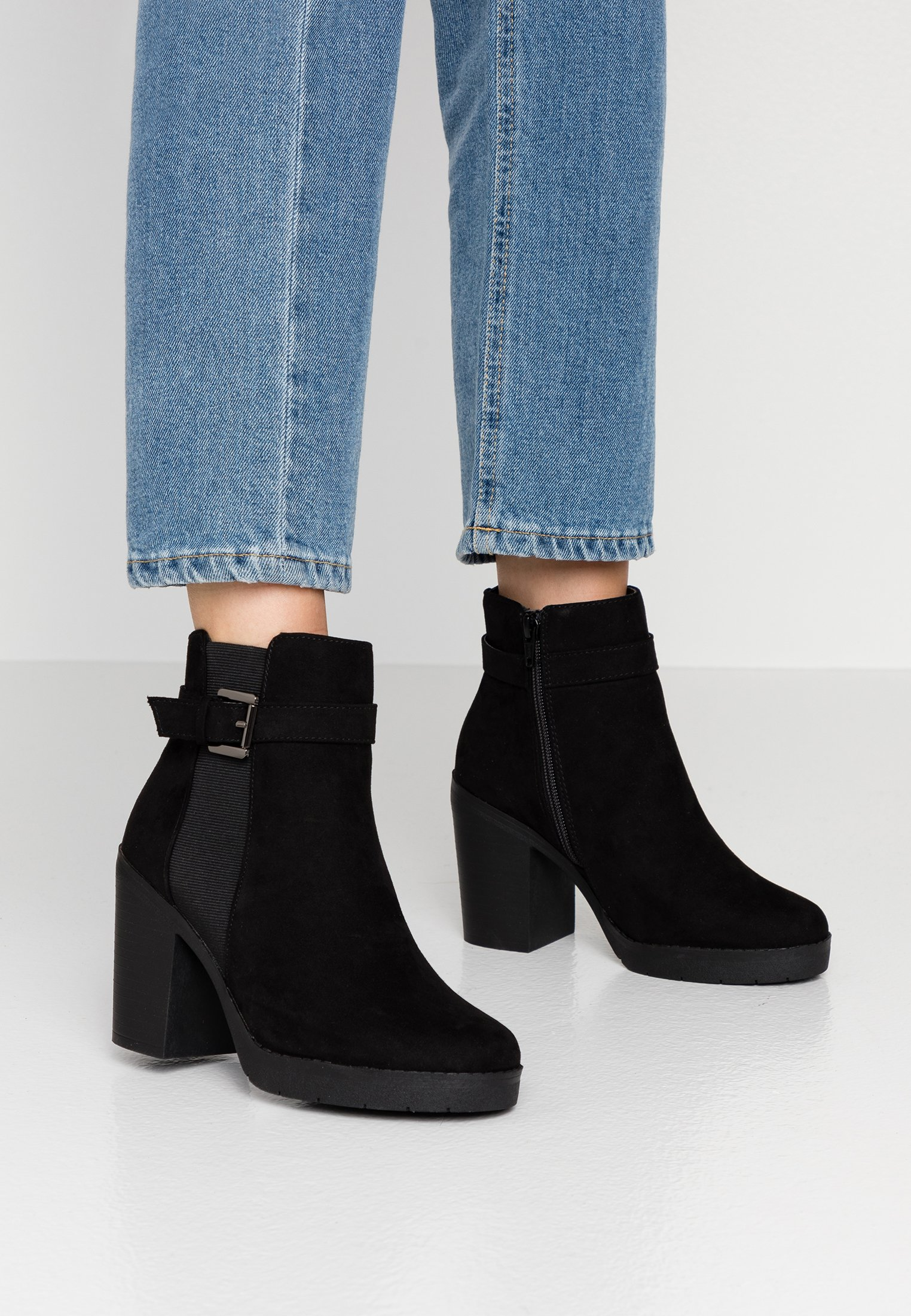 Dorothy Perkins Wide Fit WIDE FIT AGGY CHUNKY BUCKLE - Bottines à talons hauts black