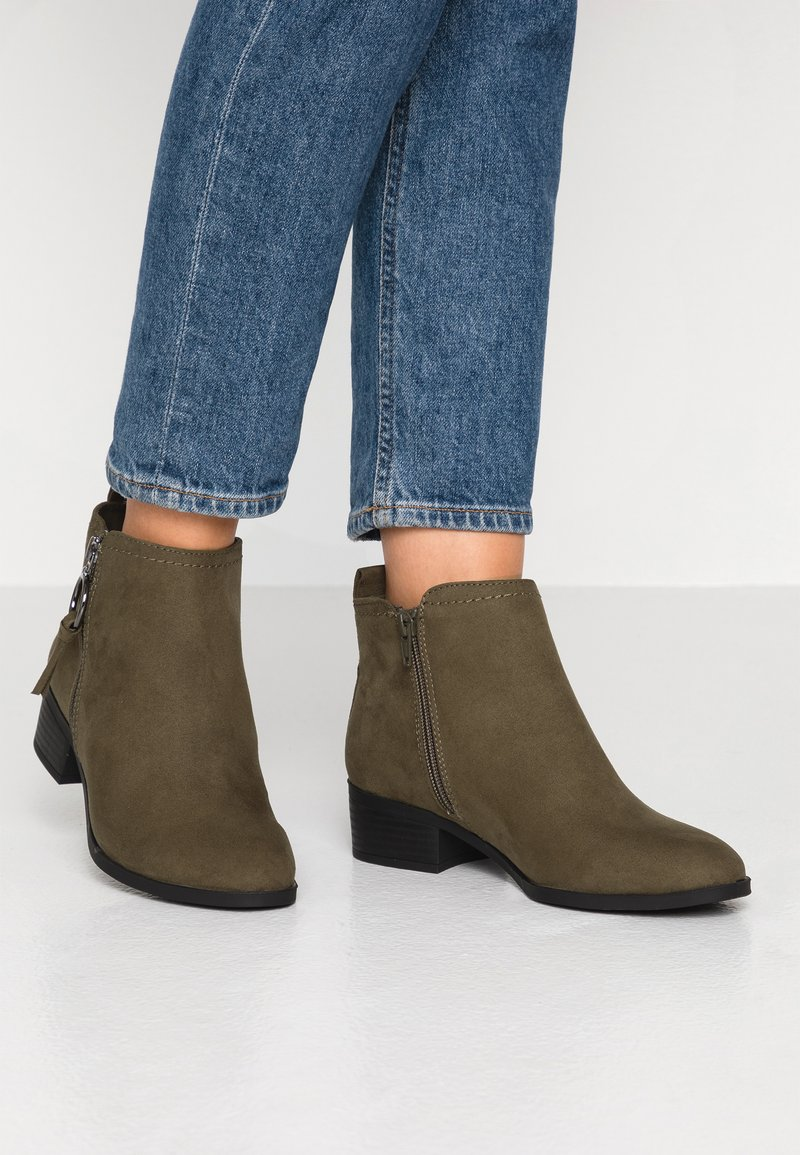 Dorothy Perkins Wide Fit - WIDE FIT MYNOR SIDE ZIP RING PULL - Ankle Boot - green