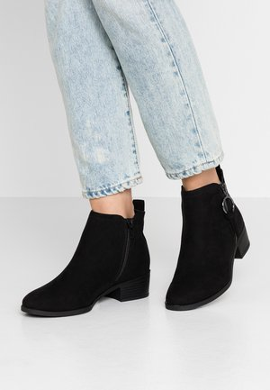 WIDE FIT MYNOR SIDE ZIP RING PULL - Ankle boots - black