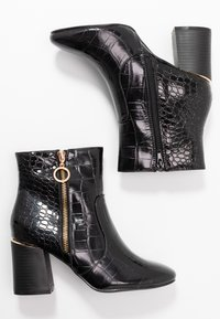 Dorothy Perkins Wide Fit - WIDE FIT ALIVE CROC HEEL SIDE ZIP BOOT - Botki - black - 3