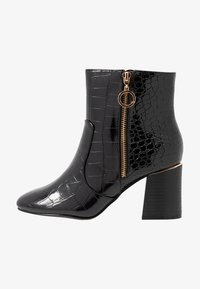 Dorothy Perkins Wide Fit - WIDE FIT ALIVE CROC HEEL SIDE ZIP BOOT - Botki - black - 1