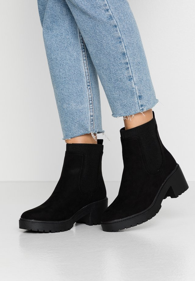 WIDE FIT ALYSSA CHUNKY PULL ON - Platform ankle boots - black