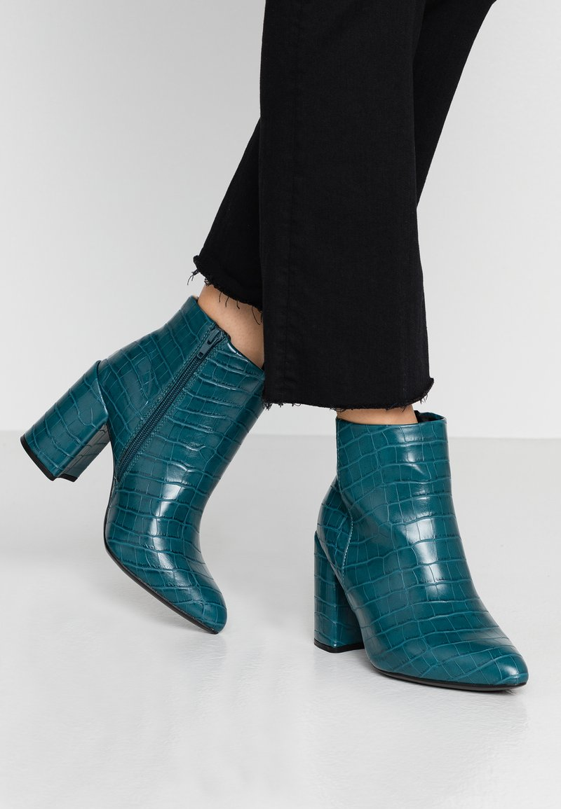 Dorothy Perkins Wide Fit - WIDE FIT ABSOLUTE - High heeled ankle boots - teal