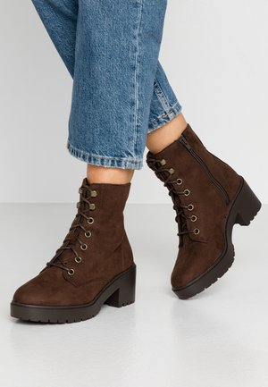 WIDE FIT ADELA LACE UP CLEAT - Platform ankle boots - choc
