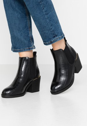 WIDE FIT ANSTY ELASTIC HEELED CHELSEA - Ankle boot - black
