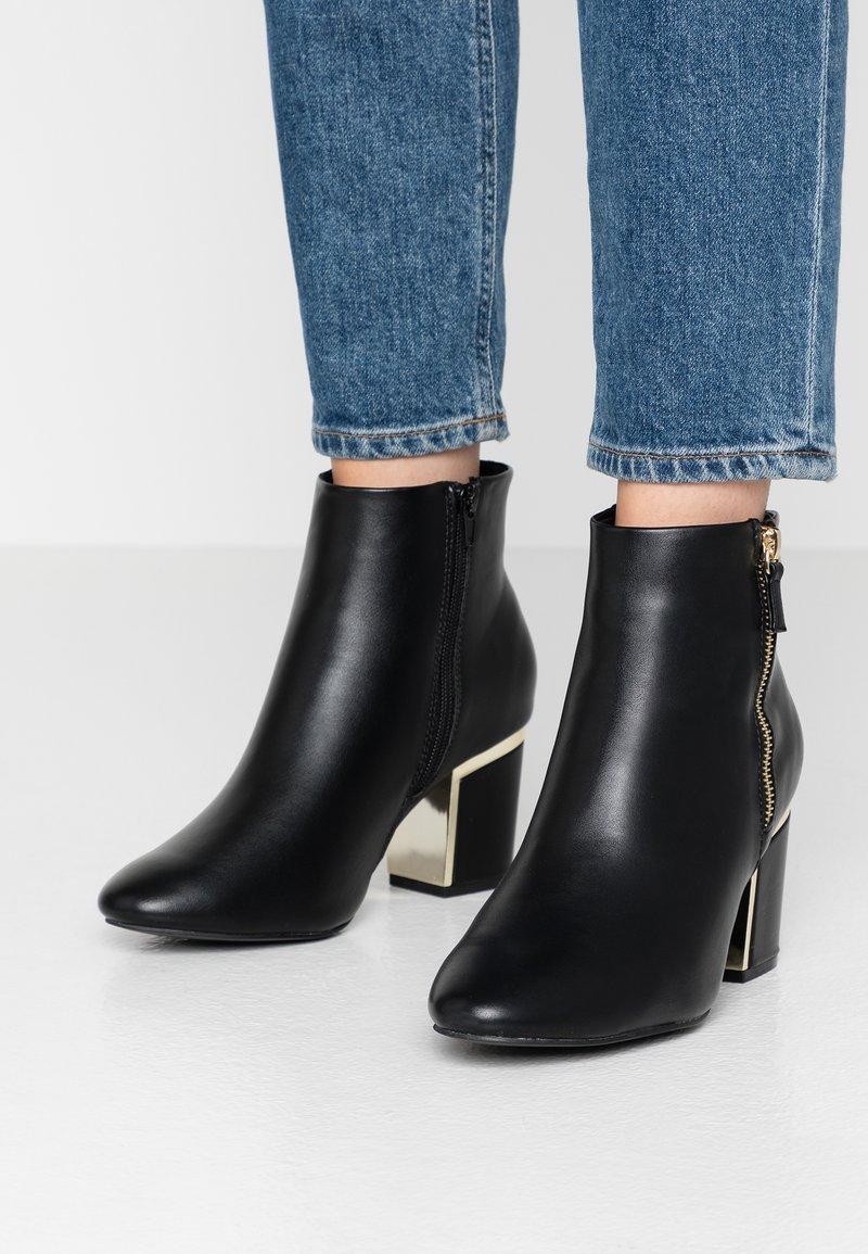 Dorothy Perkins Wide Fit - WIDE FIT ASTRID HEEL ZIP - Kotníková obuv - black