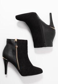 Dorothy Perkins Wide Fit - WIDE FIT AGNES SIDE ZIP ROUND TOE - Kotníková obuv na vysokém podpatku - black - 3