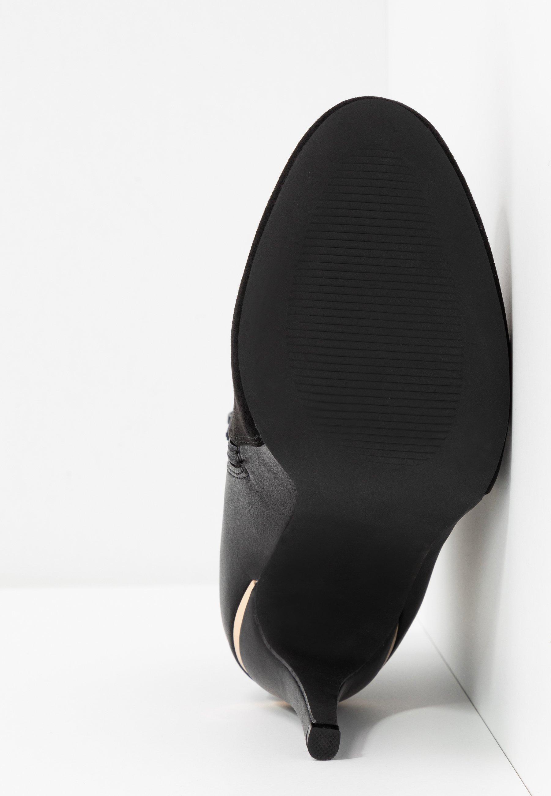 Dorothy Perkins Wide Fit WIDE FIT AGNES SIDE ZIP ROUND TOE - Bottines à talons hauts black