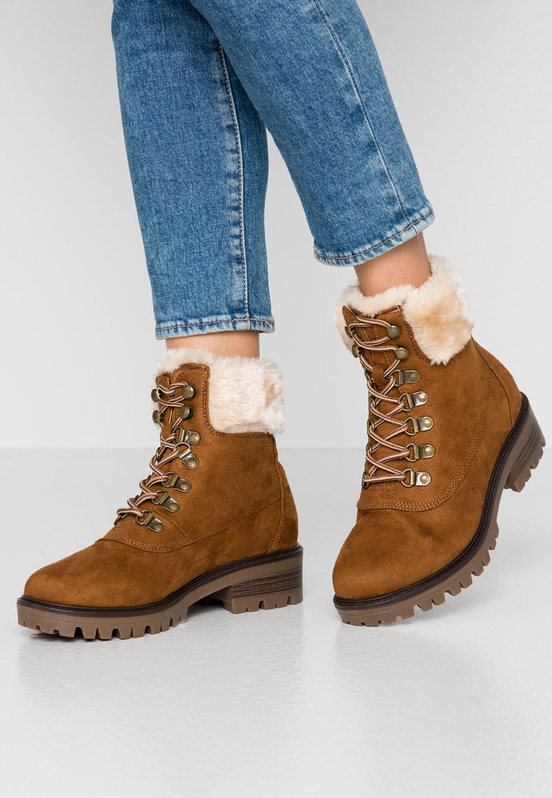 Dorothy Perkins Wide Fit - WIDE FIT MILLIE COLLAR LACE UP HIKER - Lace-up ankle boots - tan