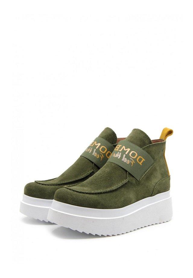 Platform ankle boots - verde oscuro