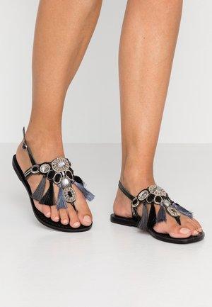 SANTORINI - T-bar sandals - black/silver