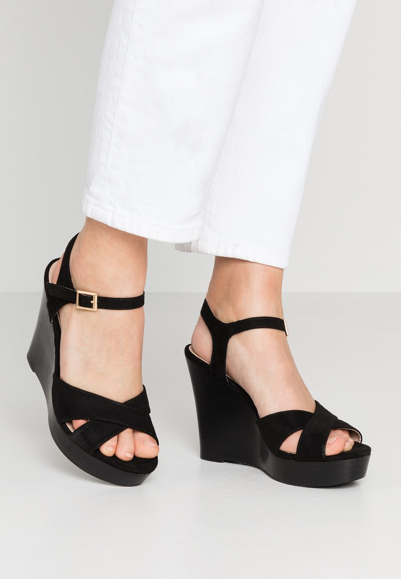 Dorothy Perkins - RADICAL STACKED 70S WEDGE - High heeled sandals - black