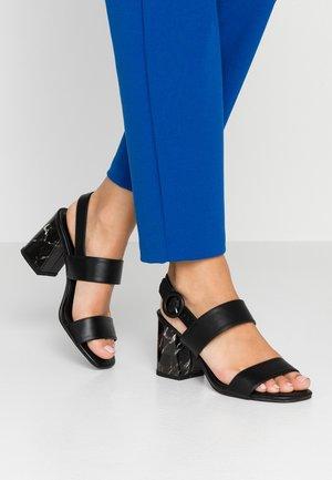 SASHA MARBLE STRAP - Sandály na vysokém podpatku - black