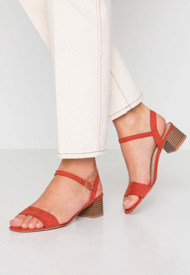 Dorothy Perkins - BRIGHT SQUARE TOE BLOCK HEEL - Sandals - orange