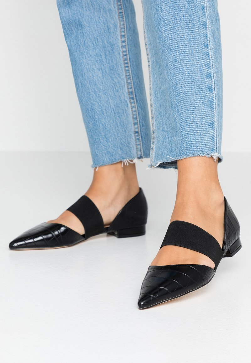 Dorothy Perkins - PLUTO ELASTIC - Ankle strap ballet pumps - black