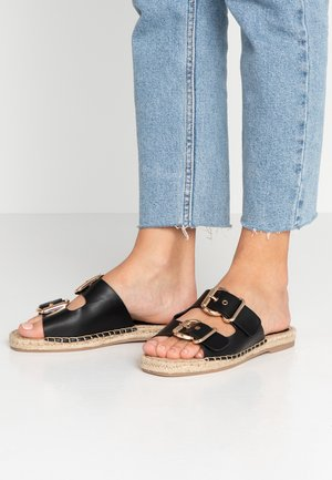 FAWNE DOUBLE BUCKLE FLATTY - Mules - black