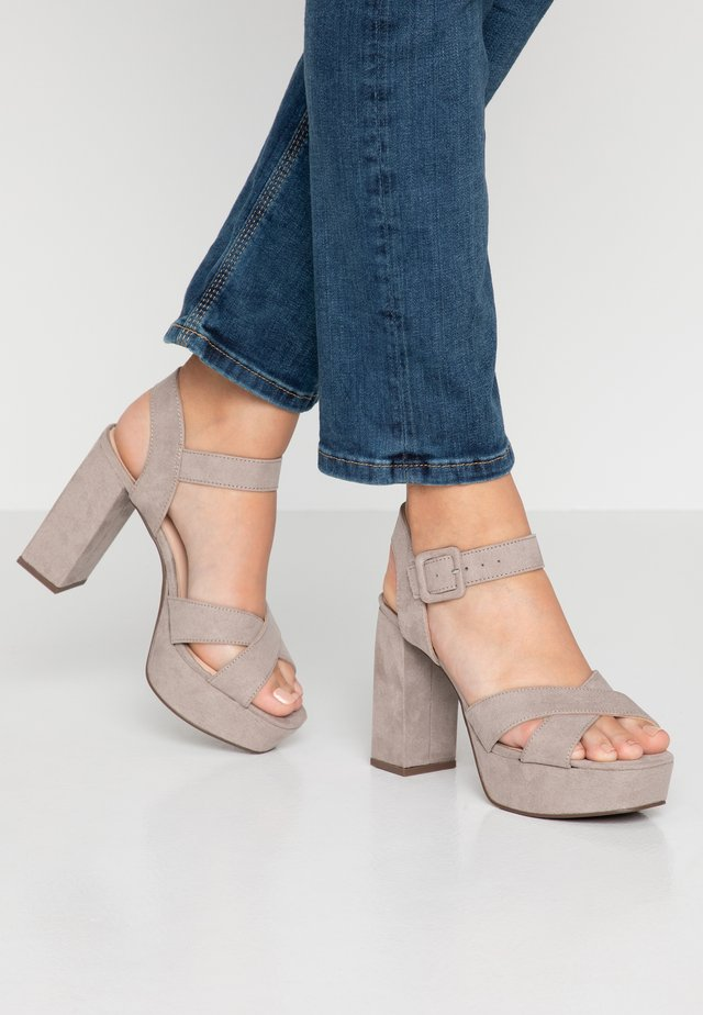 BOPPITY CROSS CHUNKY - High heeled sandals - grey