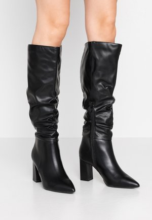 KHLOE POINT RUCHE LONG PULL ON - High heeled boots - black