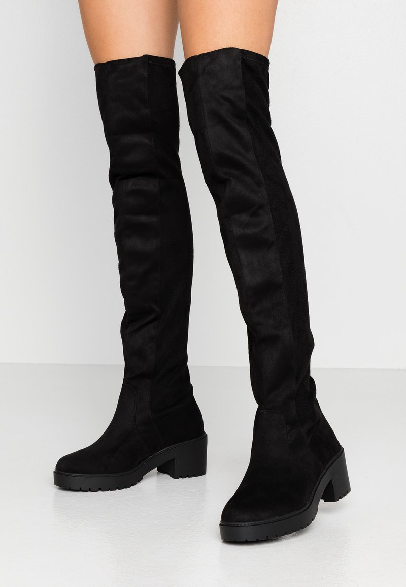 Dorothy Perkins - TRISTIANNA CLEATED HEELED LONG BOOT - Over-the-knee boots - black