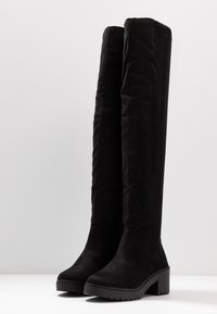 Dorothy Perkins - TRISTIANNA CLEATED HEELED LONG BOOT - Over-the-knee boots - black - 4