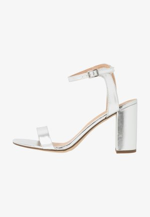 SHIMMER BLOCK HEEL - High heeled sandals - silver